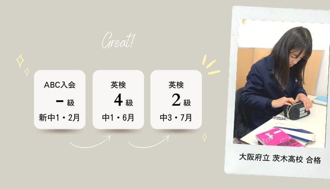 新中1からのスタート→ 中3で 英検2級 に合格→ 大阪府立 茨木高校に合格